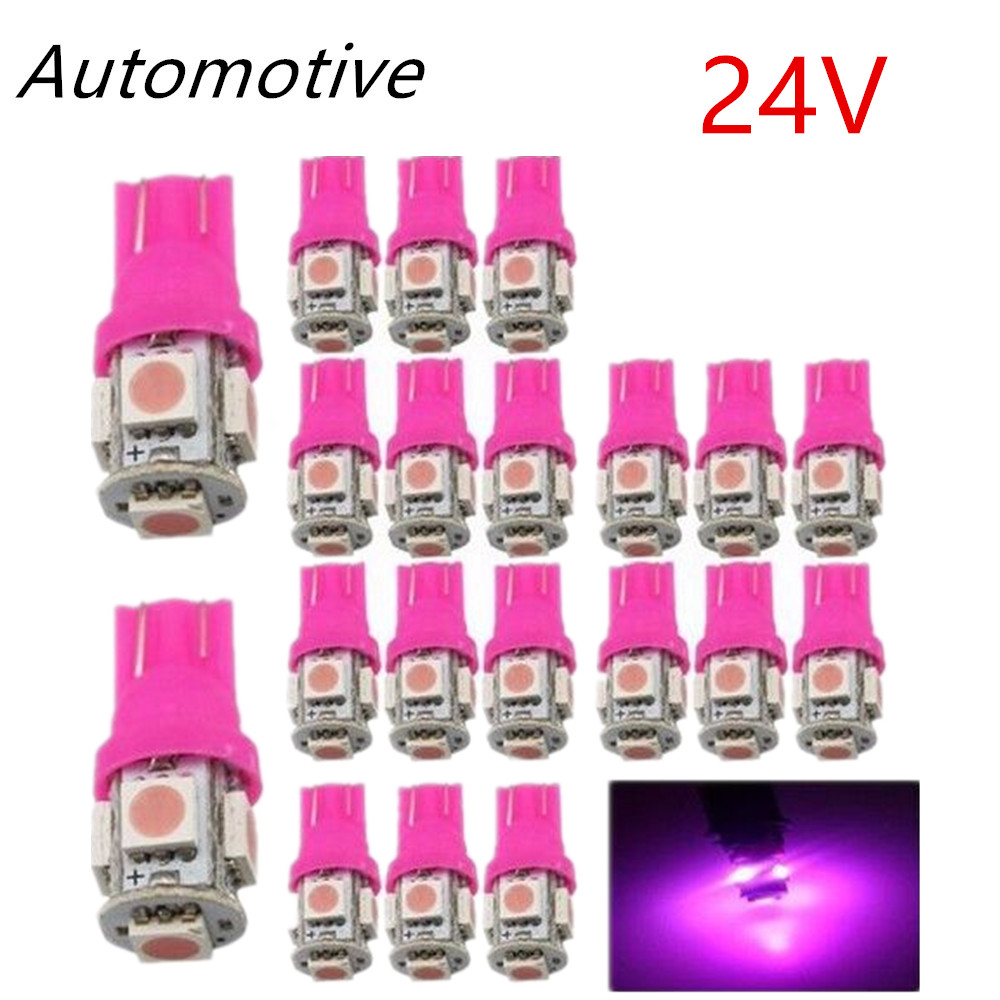 10Pcs T10 DC 24V 5-SMD 5050 LED 194 168 w5w Interior Wedge White/Yellow/Green/Red Lights 6000K Bulbs Truck Car SUV for Jeep Audi white color t10 led 8 smd 1206 8leds 8smd car interior light 194 168 192 w5w 3020 auto wedge lighting dc 12v clearance lights