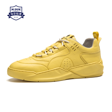 cowhide Mens Shoes Spring Yellow Skateboard Men Leisure Genuine Leather breathable sneaker fashion men casual shoes