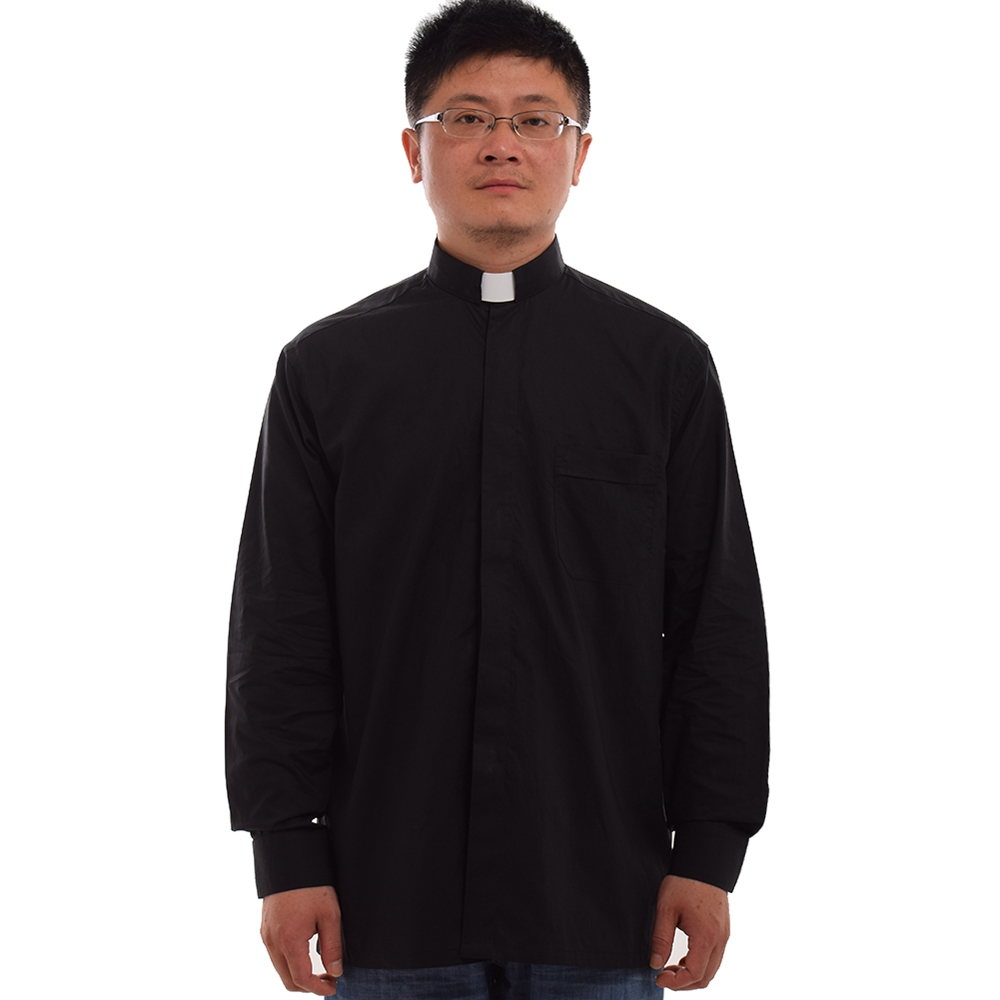 Traditional Christian Church Black Priest Pastor Clergy Shirt With Clerical Collar