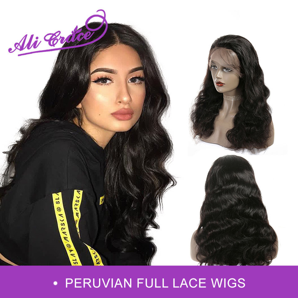 Ali Grace Full Lace Wigs Peruvian Body Wave Human Hair Wigs Glueless Pre Plucked With Baby Hair Peruvian Remy Hair Wig(China)