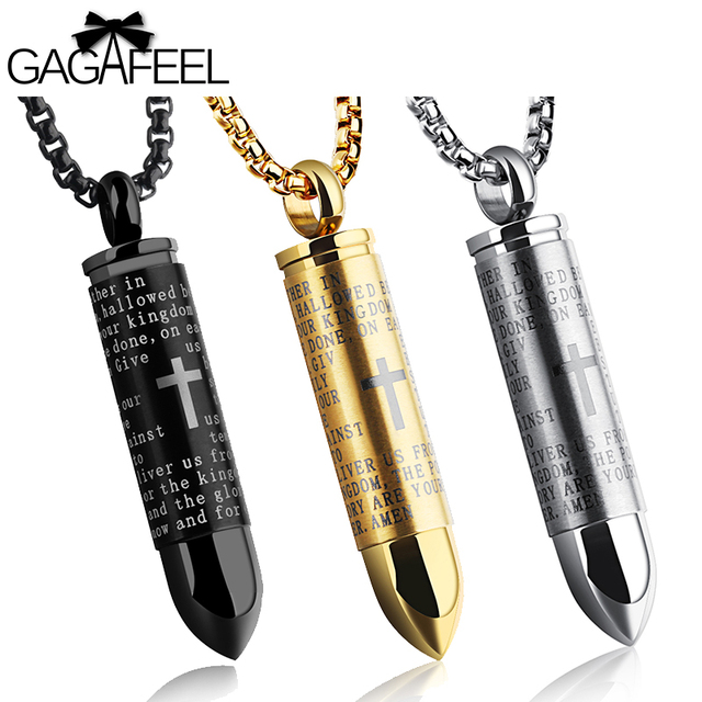 Bullet Necklace Pendant Stainless Steel Jewelry