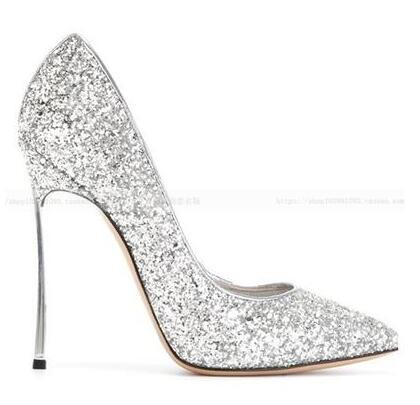 8e8b3aad23c US $58.73 33% OFF|Fashion Ladies Bling Bling Shoes Plus Size 43 Stiletto  Pumps 12cm Blade Thin High Heels Pointy Toe Glitter Bridal Wedding Shoes-in  ...