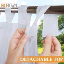 NICETOWN Outdoor Curtain for Patio Detachable Sticky Tab Top for Easy Hanging Waterproof Outside Porch White Sheer with a Rope(China)