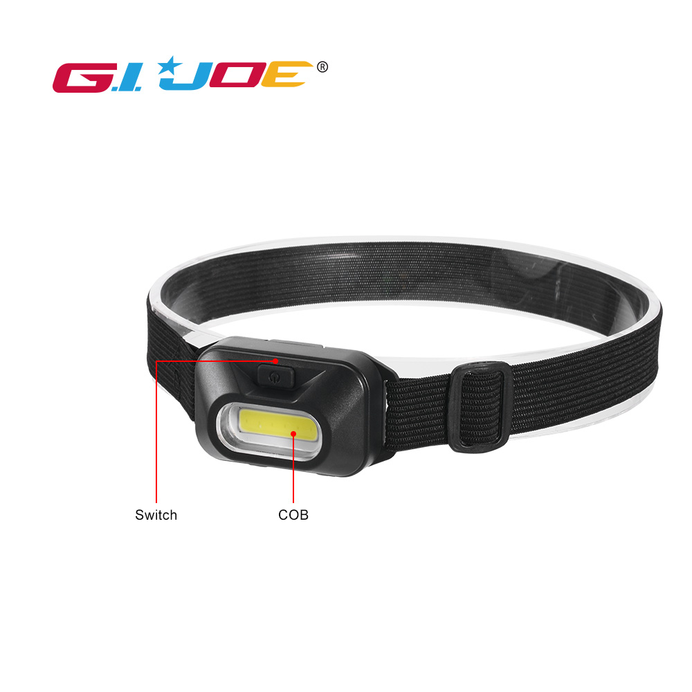 GIJOE Mini Head Lamp Led Cob Portable Light Plastic Headlight Use 3*AAA Battery Waterproof 2019 New Arrival Hiking Camping Light