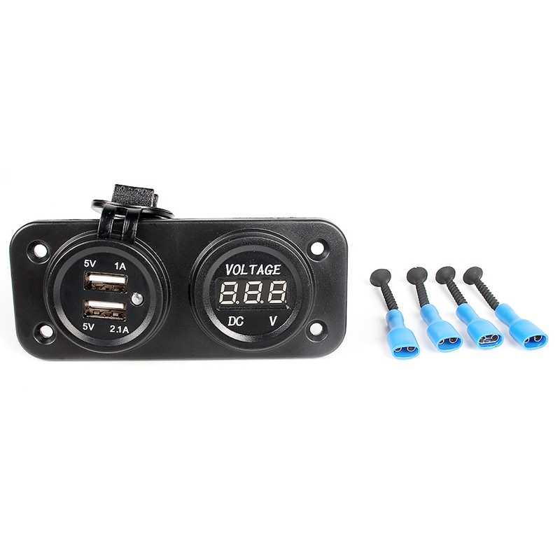 Blau LED Dual 2 USB Port Ladegerät Stecker Digital Voltmeter Auto Zigarette Leichter Buchse Wasserdichte 3.1A 2.1A Auto Motorrad 12V 24V