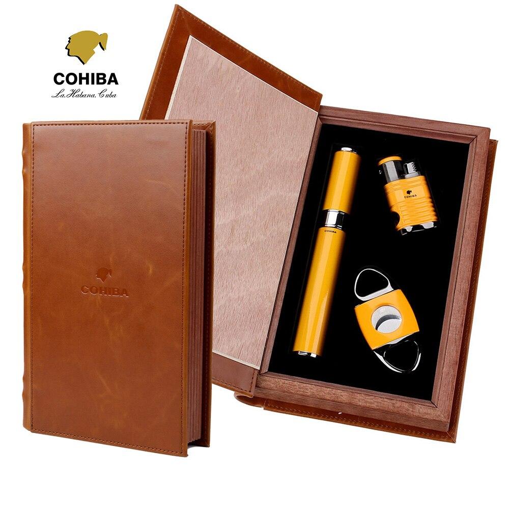 COHIBA Cigar Tube Lighter Cutter Set (3pcs/set), 4 Torch Jet Flame Lighter Double Cigar Knife Tube Cigars Set With Nice Gift Box