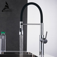 Black And Chrome Finish Kitchen Sink Faucet Deck Mount Pull Out Dual Sprayer Nozzle Hot Cold