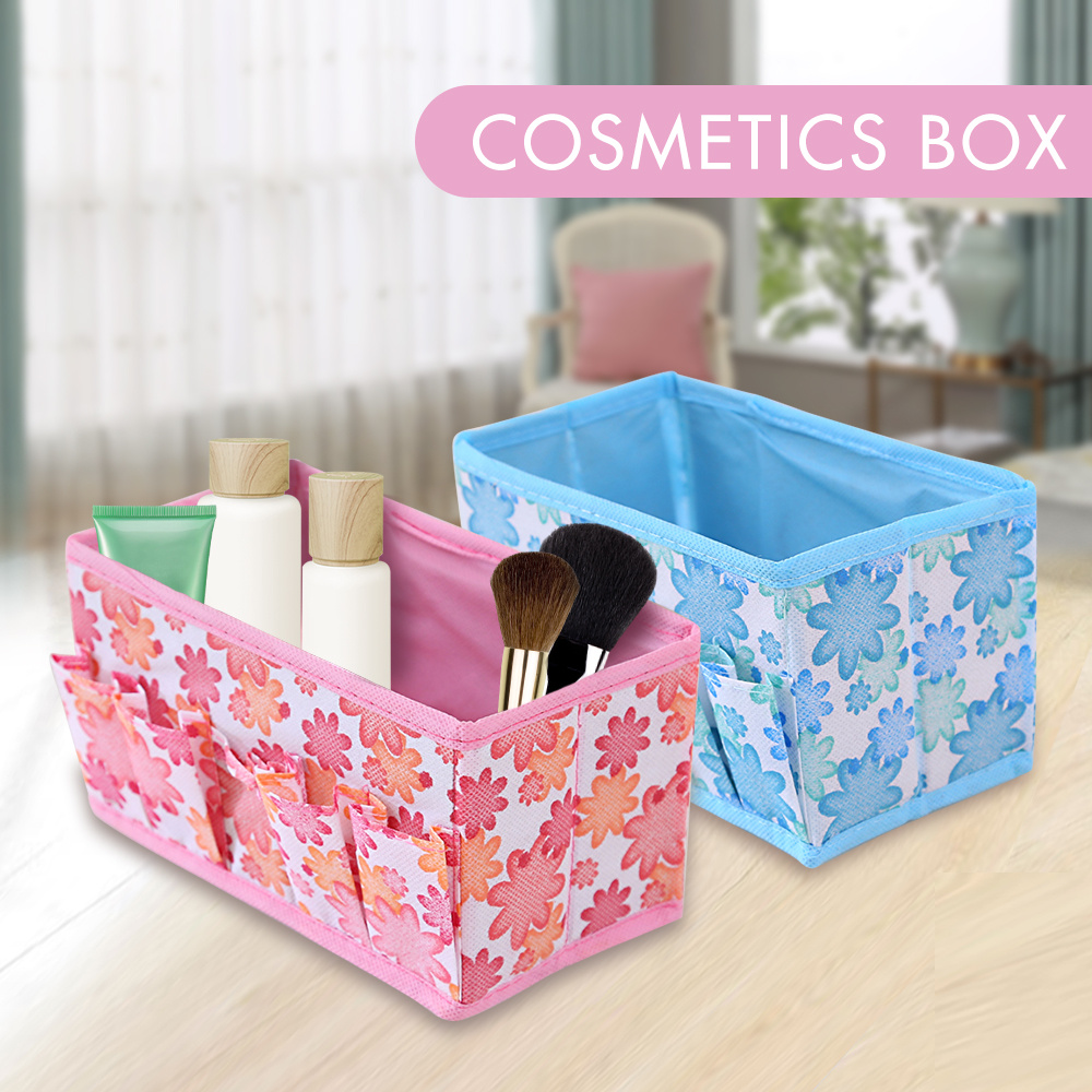 Multifunctional Folding Non Woven Make Up Desktop Cosmetic Organizer Storage Box Wardrobe Drawer Organizer for Scarfs Socks(China)