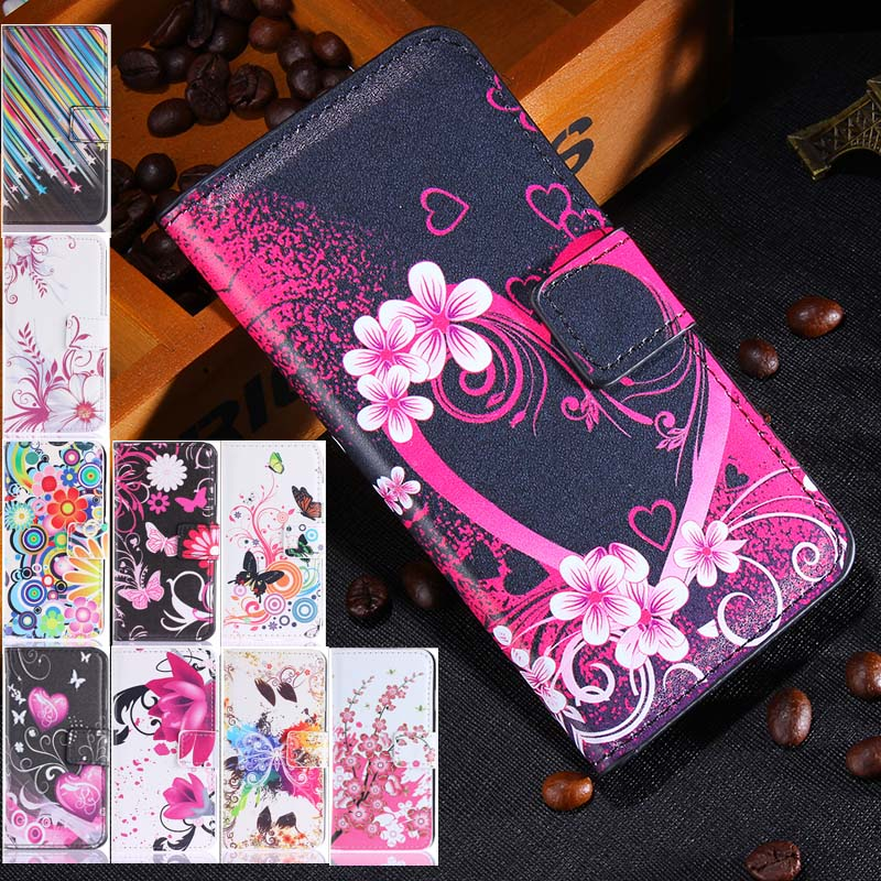 M4 Cartoon Pictures Phone Case for Sony M4 Leather Case for Sony Xperia M4 Aqua E2303 E2353  Flip Wallet Cover With Card Holders