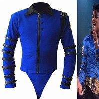 New Rare MJ Michael Jackson BAD tour Bule Bodysuit Skinny Jacket Punk Style Heavy Metal Music Ultimate Collection
