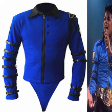 New Rare MJ Michael Jackson schlechte Tour bule Bodysuit dünne Jacke punk Stil schwere Metall Musik ultimative Sammlung