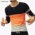 New Fashion T Shirt Men 2017 Autumn Casual Patchwork O-Neck Long-Sleeve Men's T Shirt Slim Fit Mens Clothing Trend Top Tees 5XL