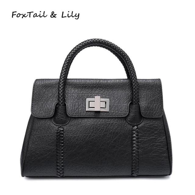 Foxtail Lily Trendy Woven Pattern Handle Women Genuine Leather Handbags European Style Shoulder Bag Woman