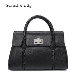 FoxTail & Lily Trendy Woven Pattern Handle Women Genuine Leather Handbags European Style Shoulder Bag Woman Messenger Bags