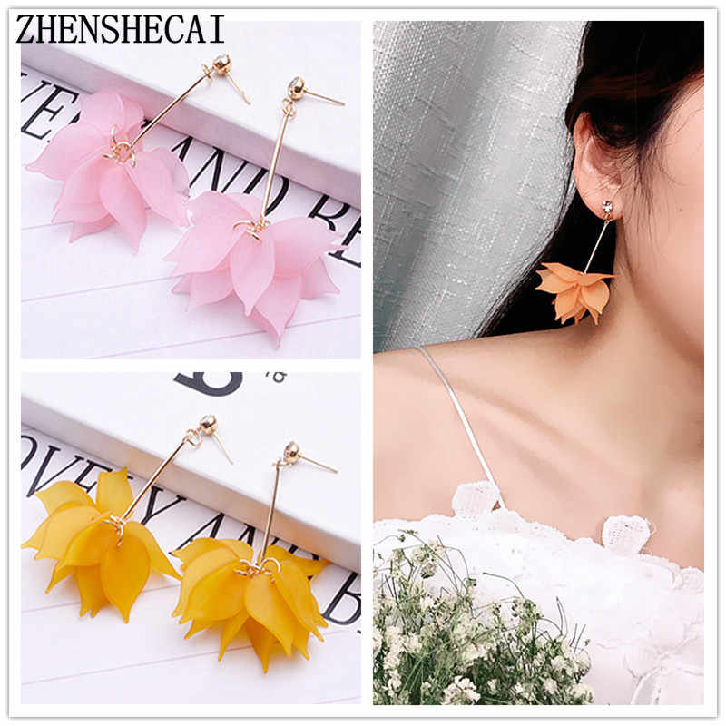 Long Tassel Drop Earrings Big Flower Fashion Jewelry boucle d'oreille Women Girl Brincos Hyperbole Jewelry Wholesale e0316