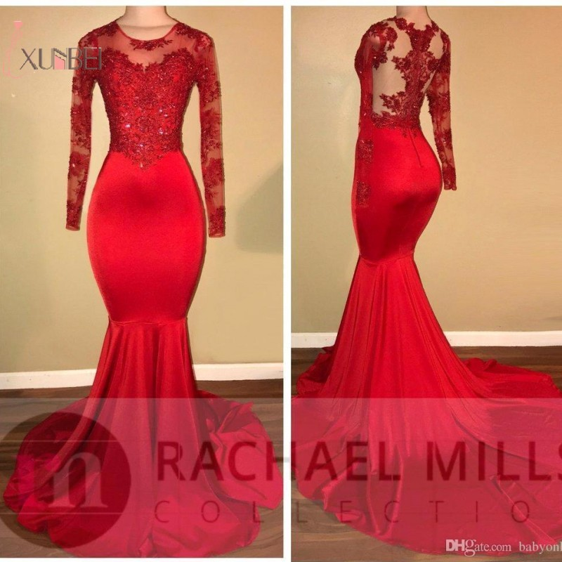 2019 Customize Red Long Sleeve Mermaid   Prom     Dresses   Lace Applique Beading   Prom   Gown vestidos de festa Free Fast Shipping