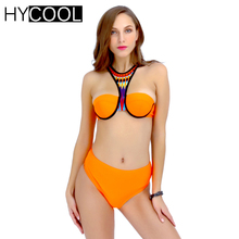 HYCOOL Brazilian Bikini Set Women Swimsuit 2017 Bathing Suit Sexy Solid Swim Suit Women Swimwear Biquini Sport High Neck 6089