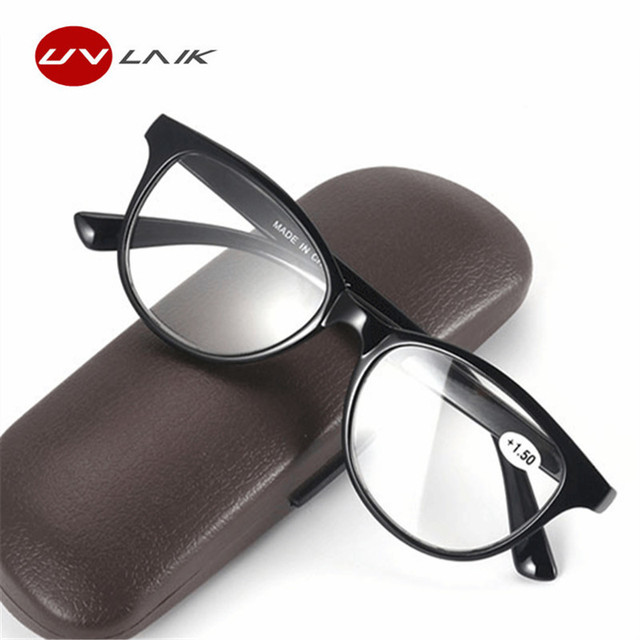 UVLAIK Fashion Men Women Readers Reading Glasses Plastic Unbreakable Reading Glasses with Diopter +1.0 +1.5 +2.0 +2.5 +3.0 +3.5
