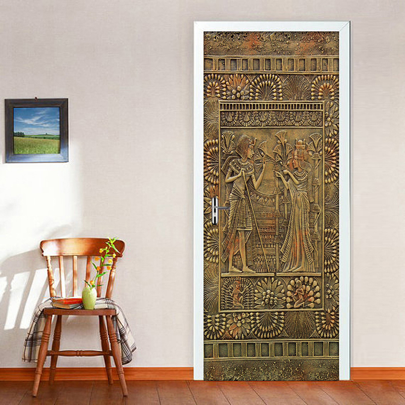 цена на Egyptian Pharaoh Door Stickers Home Decor PVC Waterproof Self-adhesive Sticker DIY Mural Wallpaper For Living Room Bedroom Door