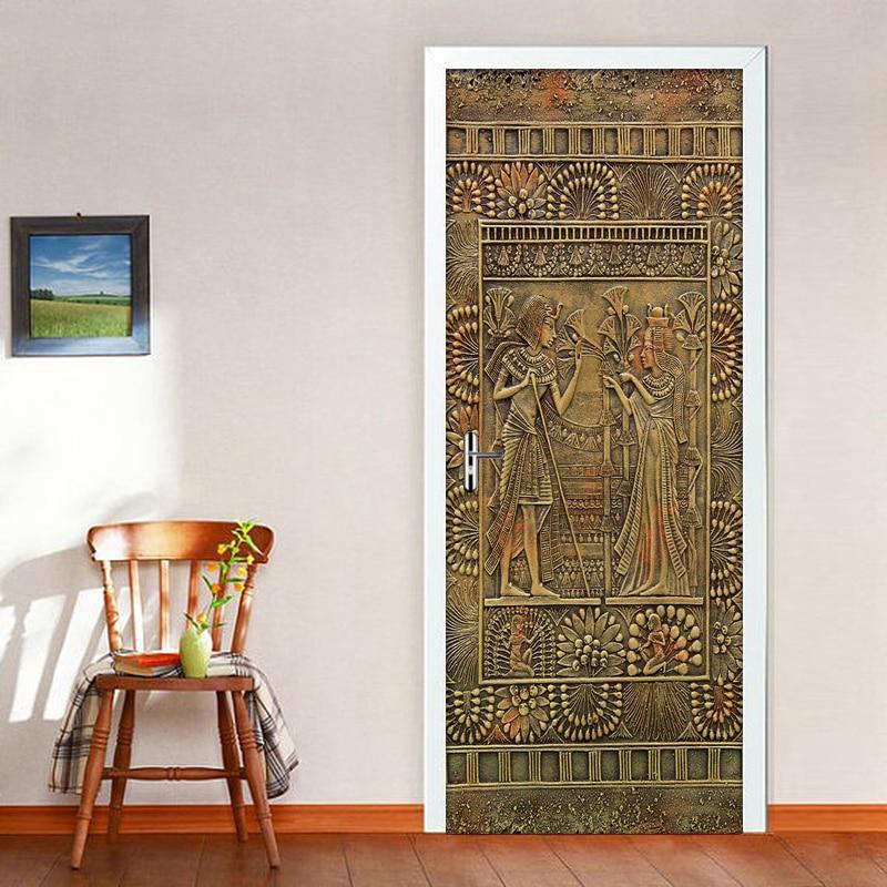 Egyptian Pharaoh Door Stickers Home Decor PVC Waterproof Self-adhesive Sticker DIY Mural Wallpaper For Living Room Bedroom Door