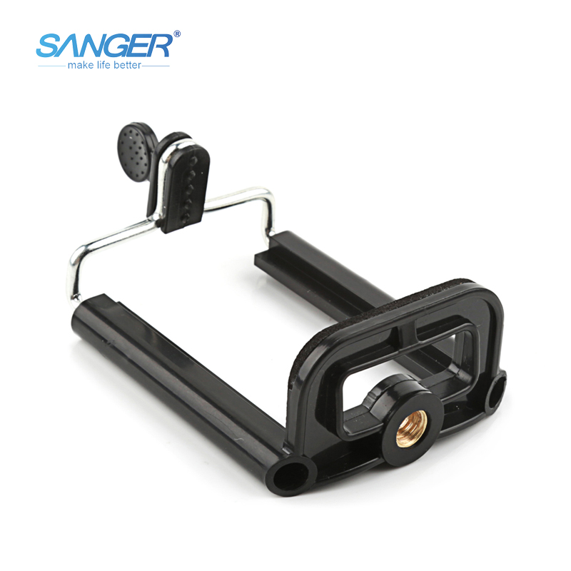 SANGER Universal Black Phone Holder for Tripod Connection Mobile Phone Tripod Monopod Adaptor Clip Mount for iPhone X 8 7 6 plus universal cell phone holder mount bracket adapter clip for camera tripod telescope adapter model c