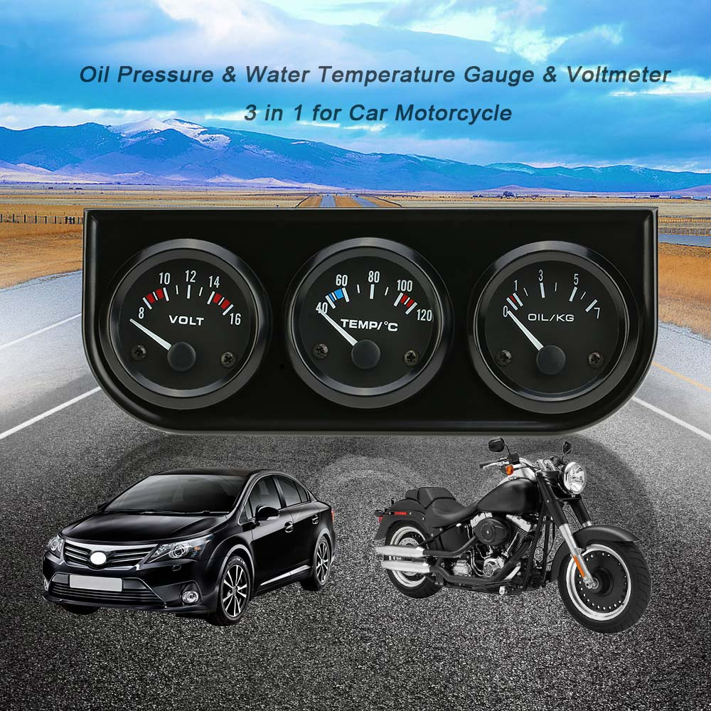 Electronic Voltmeter Gauges Oil And Water : Mm electronic triple gauge kit oil pressure water