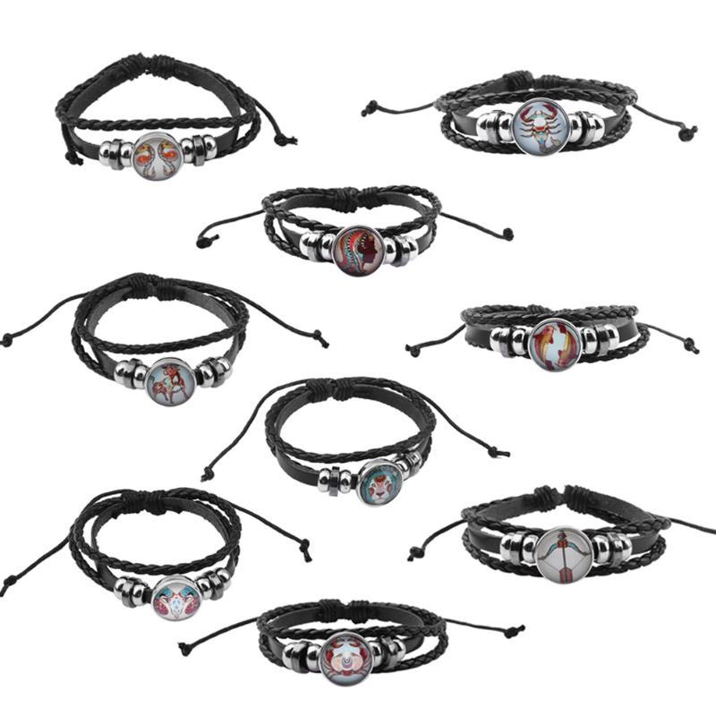 Korean Fashion Twelve Constellations Leather Bracelet Beaded Braided Weave Rope Braslet Jewelry Bijoux Gift