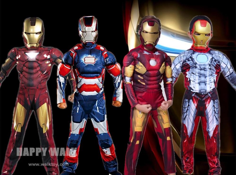 2019 Free Shopping Iron Man Mark Patriot Muscle Child Kids Halloween Costume Fantasia Avengers Superhero Cosplay Outfit