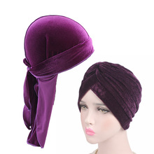 Velvet durag and turban 2pcs set Mens Durags Bandana Turban Hat Wigs Doo Durag  Pirate Hair Accessories