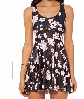 HTB1A J7JVXXXXcLXXXXq6xXFXXXE - SexeMara 2018 Hot Sale Pink Plum Print Beautiful Skater Dress Vestidos Vintage Style Pleated Mini Dress Women's Party Dress
