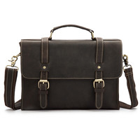 Vintage Briefcases Genuine Cow Leather Business Handbag Suitcase Man Bag 13 Inch Laptop Portfolio Men Shoulder