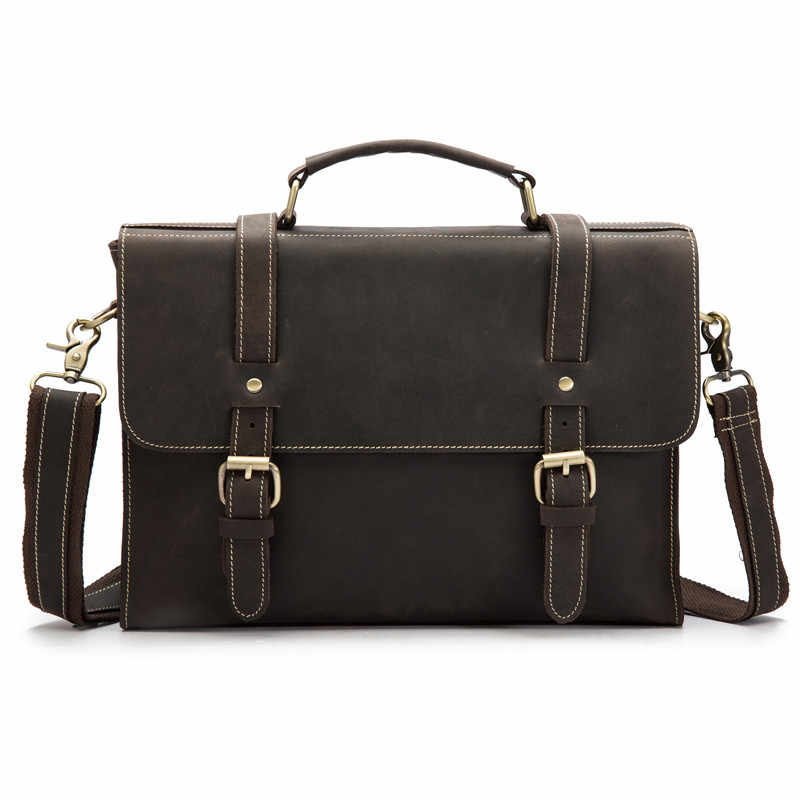 16ac5f04f6c4 Винтаж Мужские портфели пояса из натуральной кожи Плечо Сумка Через Корова  кожа бизнес чемодан человек портфель