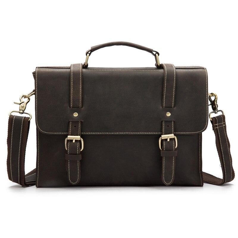 Vintage ชาย Briefcases กระเป๋าหนังไหล่ Crossbody วัวกระเป๋าถือกระเป๋าถือกระเป๋าเดินทางกระเป๋าแล็ปท็อปผู้หญิง-ใน กระเป๋าเอกสาร จาก สัมภาระและกระเป๋า บน   1