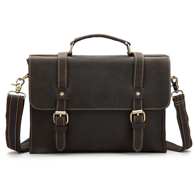 Vintage Men Male Briefcases Genuine Leather Shoulder Crossbody Bag Cow Business Handbag Suitcase Man Bag Laptop Portfolio Women