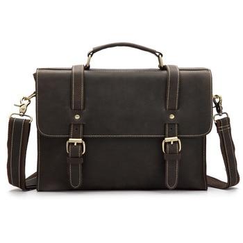 Vintage Men Male Briefcases Genuine Leather Shoulder Crossbody Bag Cow Business Handbag Suitcase Man Laptop Portfolio 1095 - discount item  31% OFF Briefcases