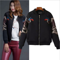 high-end Fashion Phoenix Embroidery Autumn Winter Jacket Women Short Design Loose Casual Long-sleeved Black Jacket JA-2
