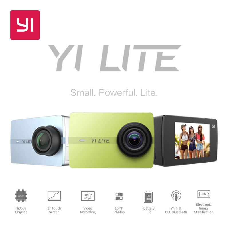 YI Lite Action Camera 16MP Real 4K Sports Camera with Built-in WIFI 2 Inch LCD Screen 150 Degree Wide Angle Lens Black packaging and labeling