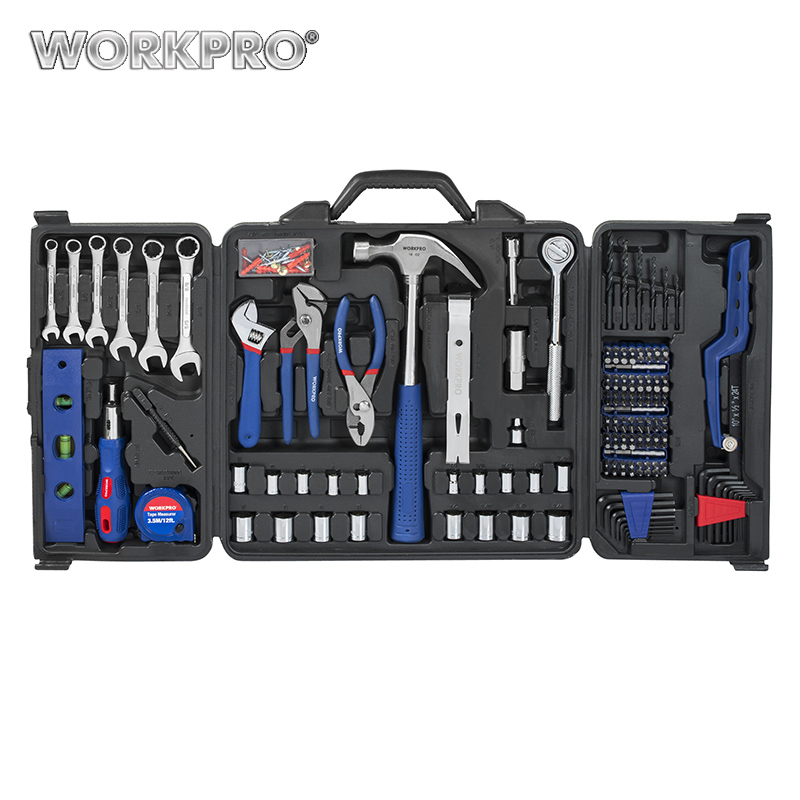 WORKPRO 201PC Mechanic Tool Set Daily Use Tools Sockets Screwdrivers Pliers Wrenches Measure tape Mini Saw Home Tool Kits picasso ps e001 8 in 1 voltage tester knife pliers screwdrivers tape tools kit