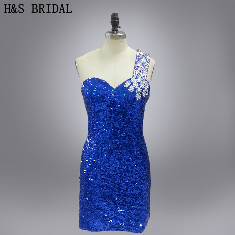 Real Model one shoulder sequined beaded sexy   cocktail     dress
