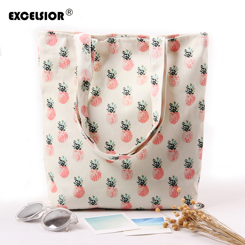 EXCELSIOR 2018 Fresh Cartoon Fruit Pineapple Printed Canvas Cotton Tote Bags Eco Shopping Beach Bags Women Girl Shoulder Handbag new woman shoulder bags cute canvas women big bags literature and art cartoon girls small fresh bags casual tote