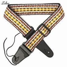 Zebra 102cm-132cm Woven Retro Folk Style PU leather Adjustable Durable Guitar Strap Belt for Acoustic Electric Bass Guitar Part