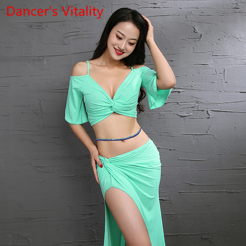 New Belly Dance Suit Flash Powder Knitted Practice Clothing Fresh Dance Troupe Clothing Women Dance Closthes Green Yellow Pink