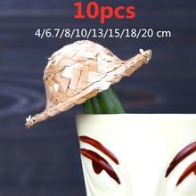 10pcs 4/6.7/8/10/13/15/18/20cm Mini Decorative Small Straw Hat For Cocktail Drink Picks Bar Tools Accessory