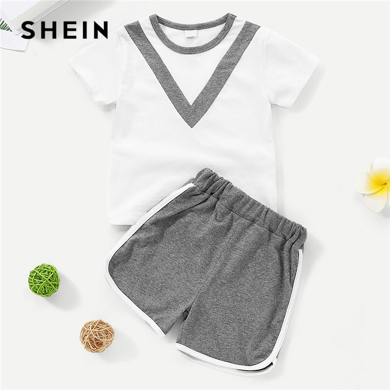 SHEIN Kiddie Casual Contrast Panel Tee With Shorts Toddler Girls Clothing 2019 Summer Active Wear Kids Suit For Girl Sportwear