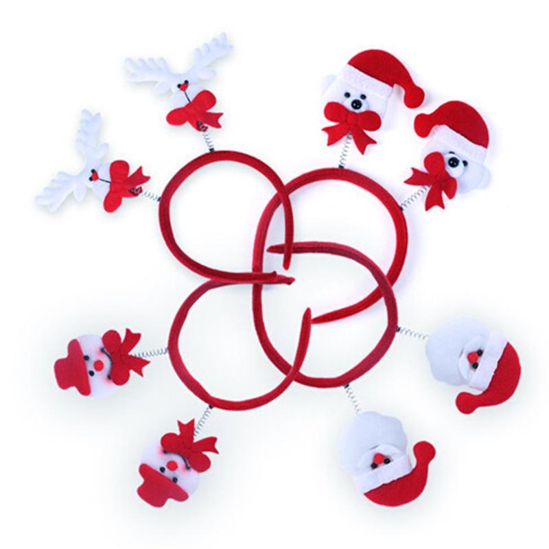 40pcs/lot Christmas Supplies Mixed Style Santa Headband Snowman Deer Design Hairwear Kids Festival Gifts HX415