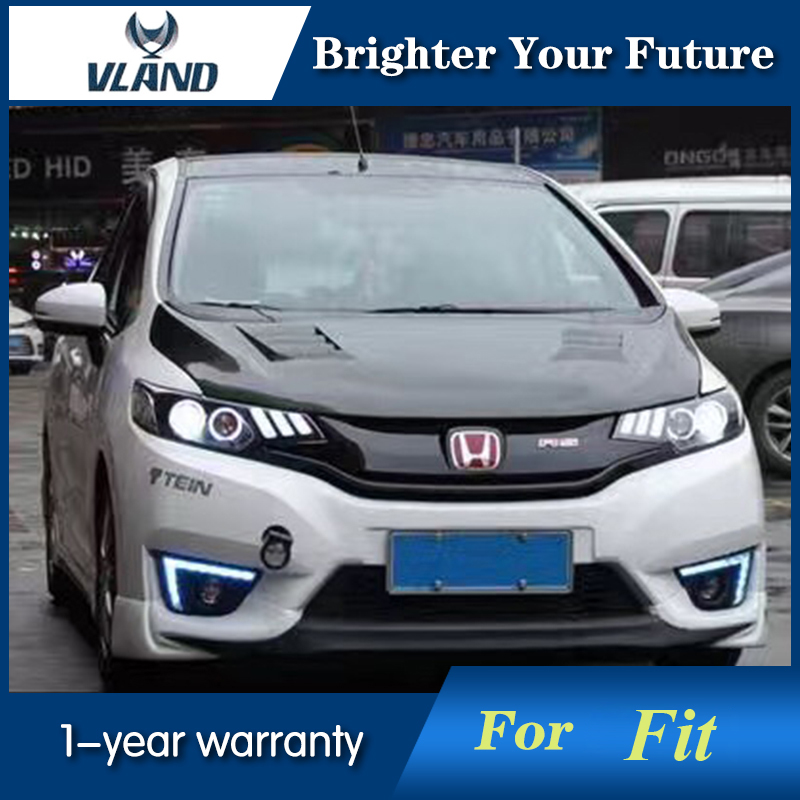 2Pcs LED Angel Eyend and Glass Lens Headlight For Honda Fit 2014-2016 Head Lamp Bi-xenon Lens Projector LED DRL hireno headlamp for hodna fit jazz 2014 2015 2016 headlight headlight assembly led drl angel lens double beam hid xenon 2pcs