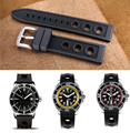 22mm 24mm New Black Waterproof Diving Silicone Rubber Watch Straps Pin Buckle for Breitling Avenger Series A3239011 Watch+ Tools