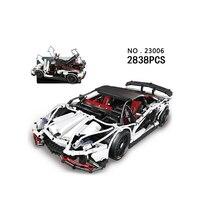 Hot Scale Germany Famous Brand Bull Logo Veneno Super Sport Car Moc Building Block Model Bricks