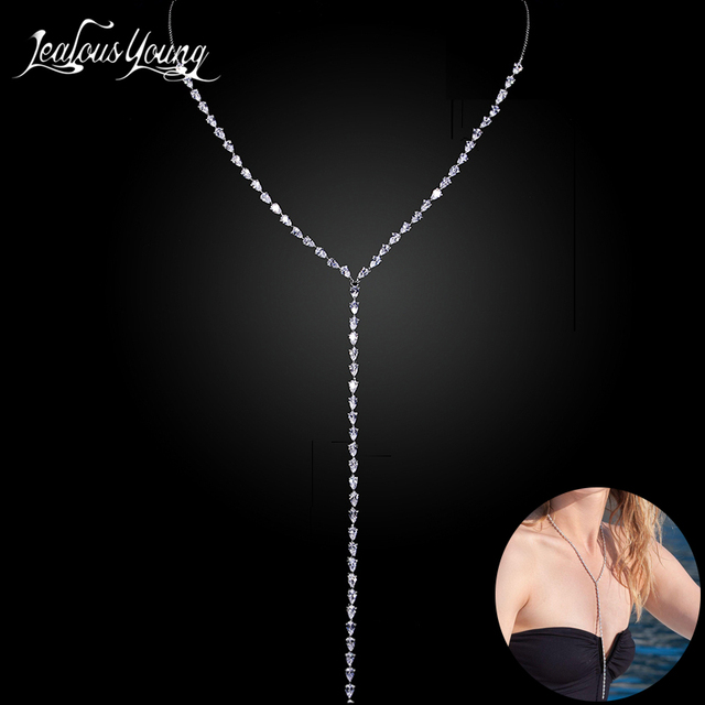 2017 New Fashion CZ Long Necklace Women Luxury White Gold Color Crystal Statement Necklaces & Pendants For Party AN059