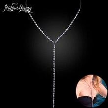 2017 neue Mode CZ Lange Halskette Frauen Luxus Weiß Gold Farbe Kristall Aussage Halsketten & Anhänger Für Party AN059